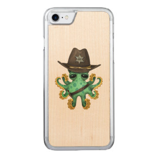 Cute Green Baby Octopus Sheriff Carved iPhone 8/7 Case