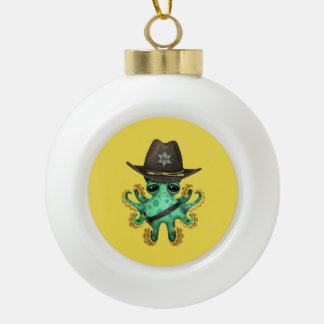 Cute Green Baby Octopus Sheriff Ceramic Ball Christmas Ornament