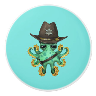 Cute Green Baby Octopus Sheriff Ceramic Knob