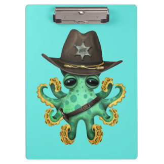 Cute Green Baby Octopus Sheriff Clipboard