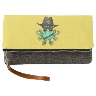 Cute Green Baby Octopus Sheriff Clutch