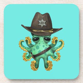 Cute Green Baby Octopus Sheriff Coaster