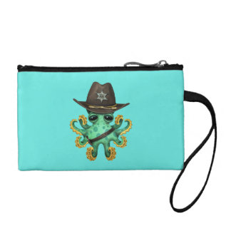 Cute Green Baby Octopus Sheriff Coin Purse
