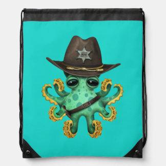 Cute Green Baby Octopus Sheriff Drawstring Bag