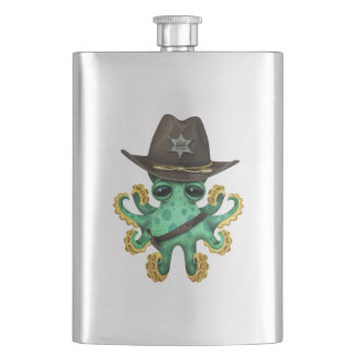 Cute Green Baby Octopus Sheriff Hip Flask