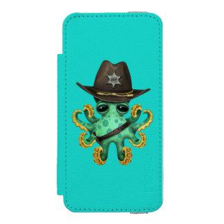 Cute Green Baby Octopus Sheriff Incipio Watson™ iPhone 5 Wallet Case