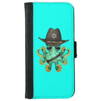 Cute Green Baby Octopus Sheriff iPhone 6 Wallet Case