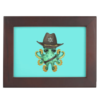 Cute Green Baby Octopus Sheriff Keepsake Box
