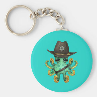 Cute Green Baby Octopus Sheriff Keychain