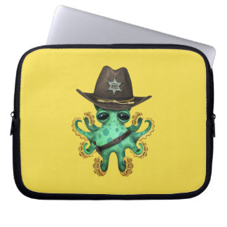 Cute Green Baby Octopus Sheriff Laptop Sleeve