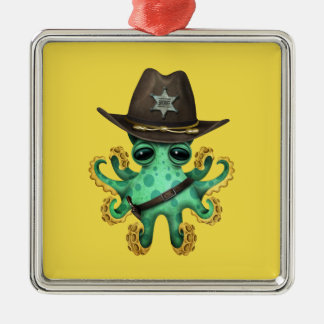 Cute Green Baby Octopus Sheriff Metal Ornament