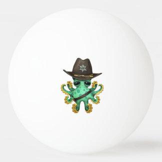 Cute Green Baby Octopus Sheriff Ping Pong Ball