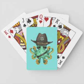 Cute Green Baby Octopus Sheriff Playing Cards