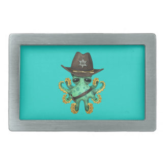 Cute Green Baby Octopus Sheriff Rectangular Belt Buckle