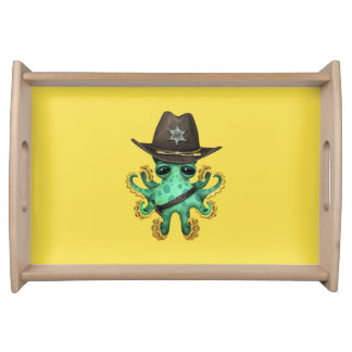Cute Green Baby Octopus Sheriff Serving Tray