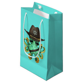 Cute Green Baby Octopus Sheriff Small Gift Bag