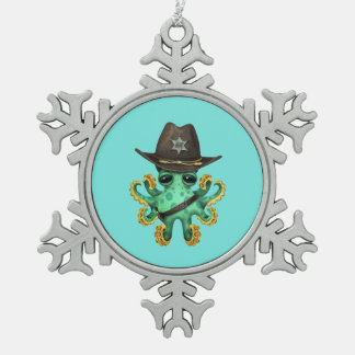 Cute Green Baby Octopus Sheriff Snowflake Pewter Christmas Ornament