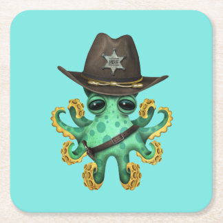Cute Green Baby Octopus Sheriff Square Paper Coaster