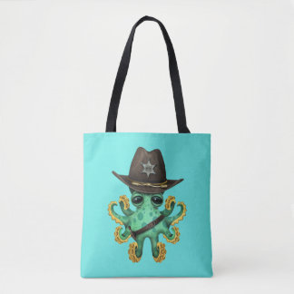 Cute Green Baby Octopus Sheriff Tote Bag