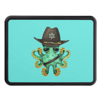 Cute Green Baby Octopus Sheriff Trailer Hitch Cover