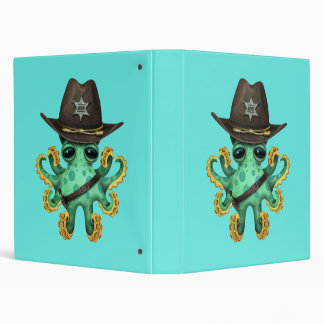 Cute Green Baby Octopus Sheriff Vinyl Binders