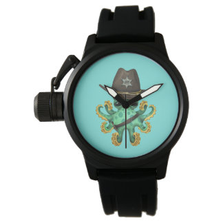 Cute Green Baby Octopus Sheriff Watch
