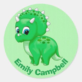 Cute Green Baby Triceratops Dinosaur Round Sticker