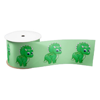 Cute Green Baby Triceratops Dinosaur Satin Ribbon