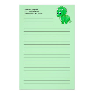 Cute Green Baby Triceratops Dinosaur Stationery