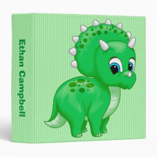 Cute Green Baby Triceratops Dinosaur Vinyl Binder