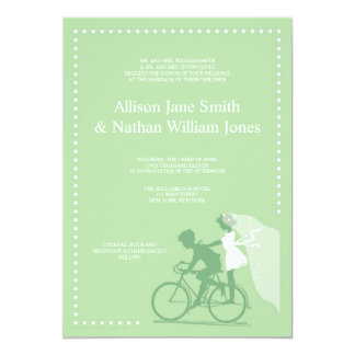 CUTE Green Bicycle Couple Wedding Invitation