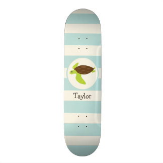 Cute Green & Brown Sea Turtle; Robins Egg Blue Skateboard Deck