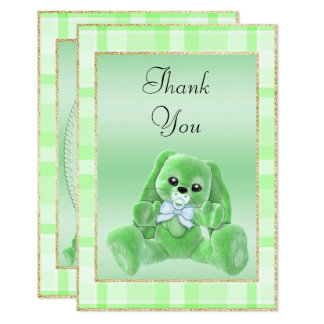 Cute Green Bunny  Baby Shower Thank You Card