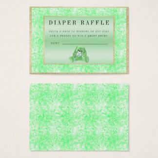 "Cute Green Bunny ""Raffle"" Baby Shower Business Card"
