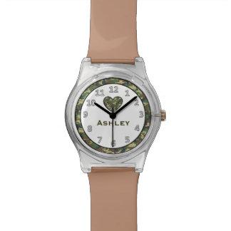 Cute GREEN Camo Heart Custom Name V6 Watch