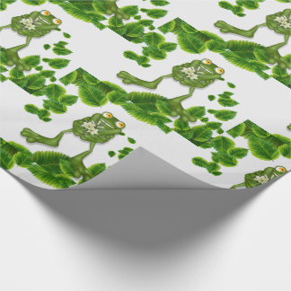 Cute Green Cartoon Frog with a Daisy Bouquet Wrapping Paper