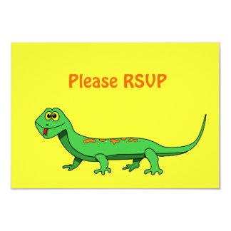 "Cute Green Cartoon Lizard Kids Reptile 3.5"" X 5"" Invitation Card"