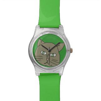 cute green cat time wristwatch