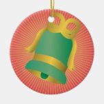 CUTE GREEN CHRISTMAS BELL GOLDEN RIBBON CHRISTMAS TREE ORNAMENT