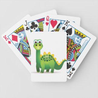 Cute green dinosaur cartoon bicycle playing cards
