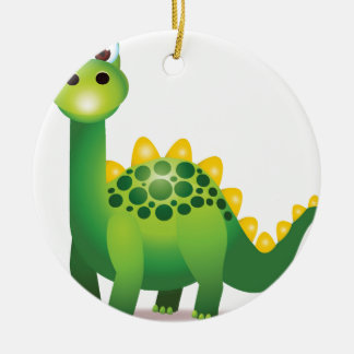 Cute green dinosaur cartoon ceramic ornament