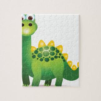 Cute green dinosaur cartoon jigsaw puzzle