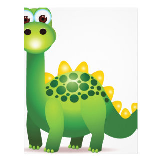 Cute green dinosaur cartoon letterhead