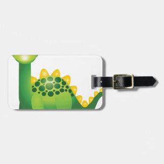Cute green dinosaur cartoon luggage tag