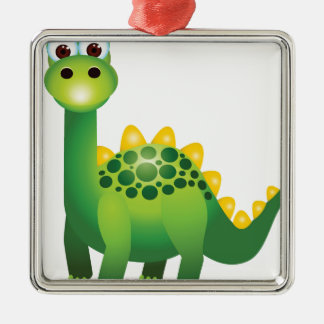 Cute green dinosaur cartoon metal ornament