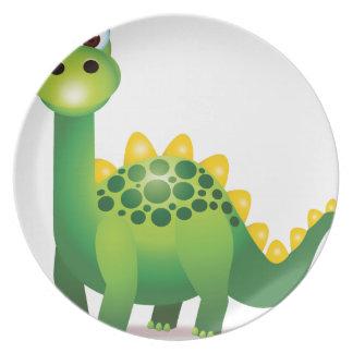 Cute green dinosaur cartoon party plates