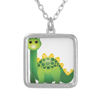 Cute green dinosaur cartoon silver plated necklace