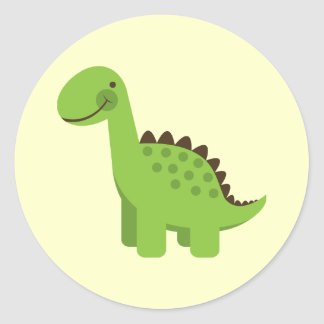 Cute Green Dinosaur Classic Round Sticker
