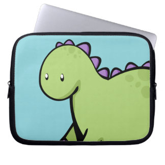 Cute Green Dinosaur Laptop Sleeve