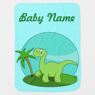Cute Green Dinosaur Personalized Baby Blanket